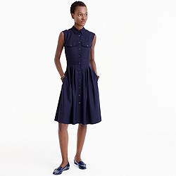 Sleeveless shirtdress in Super 120s