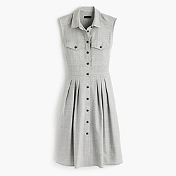 Sleeveless shirtdress in Super 120s