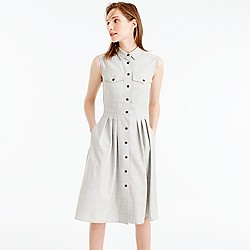 Petite sleeveless shirtdress in Super 120s