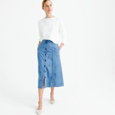 Button-front midi skirt : Women denim | J.Crew