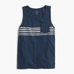 Textured cotton tank top in engineered stripe