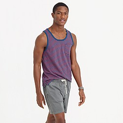 Textured cotton tank top in blue stripe
