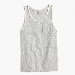 Textured cotton tank top in grey stripe