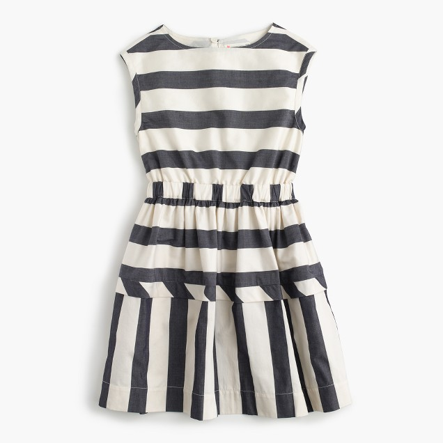 Girls' directional stripe dress