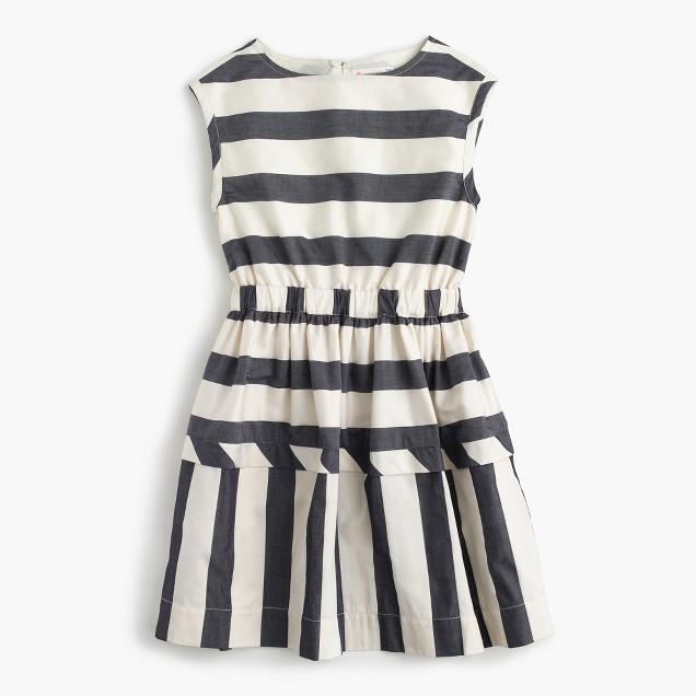 Girls' directional stripe dress