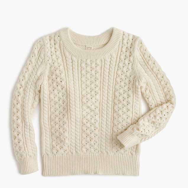 Boys' cable crewneck sweater in cotton