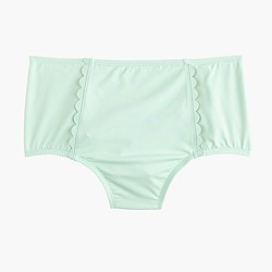 Scalloped high-waist bikini brief in Italian matte