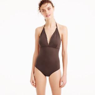 Scalloped V-neck one-piece swimsuit in Italian matte