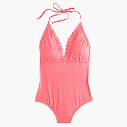 Scalloped V-neck one-piece swimsuit in Italian matte