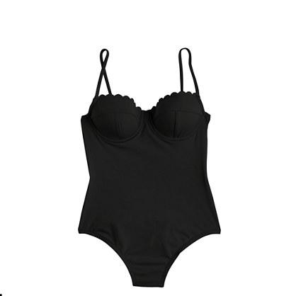 Scalloped underwire one-piece swimsuit in Italian matte