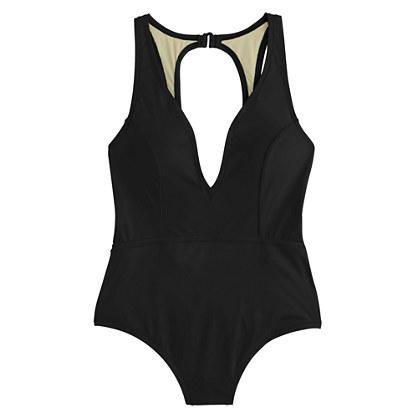 Open-back one-piece swimsuit in Italian matte