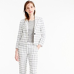 Petite single-button jacket in windowpane tweed