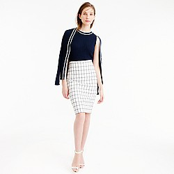 Petite pencil skirt in windowpane tweed