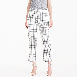Petite patio pant in windowpane tweed