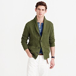 Cotton guernsey shawl-collar cardigan sweater