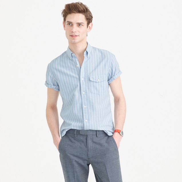 Short-sleeve lightweight oxford shirt in stripe