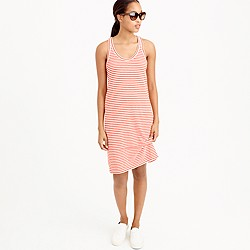 Petite racerback tank dress in stripe