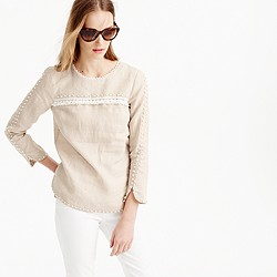 Petite embroidered linen top