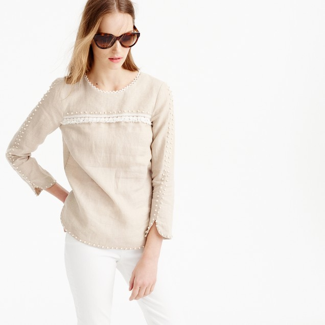 Tall embroidered linen top