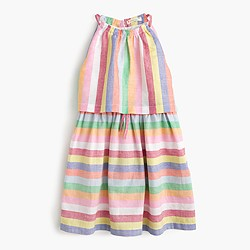 Girls' tiered dress in candy stripe