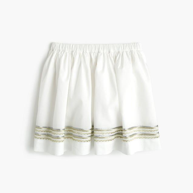 Girls' embroidered pull-on summer skirt