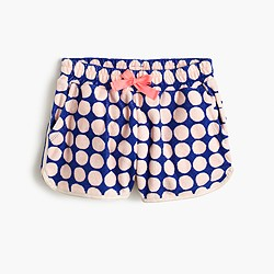 Girls' polka-dot terry pull-on short