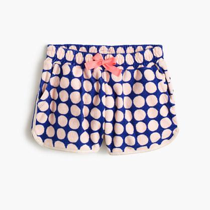 Girls' polka-dot terry pull-on short
