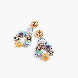 Sequin and crystal rose earrings