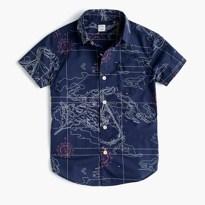 Kids' short-sleeve Secret Wash shirt in nautical map print