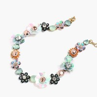 Sequin and crystal rose necklace