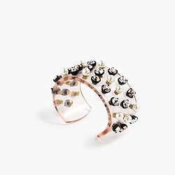 Crystal and pearl studded cuff bracelet