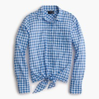 Tie-front boy shirt in gingham