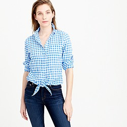 Petite tie-front boy shirt in gingham