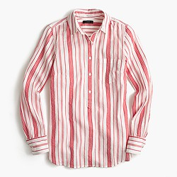 Petite classic popover shirt in striped cotton gauze