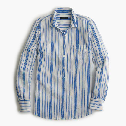Tall classic popover shirt in striped cotton gauze