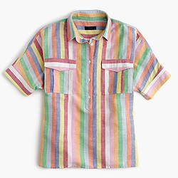 Short-sleeve popover shirt in candy stripe