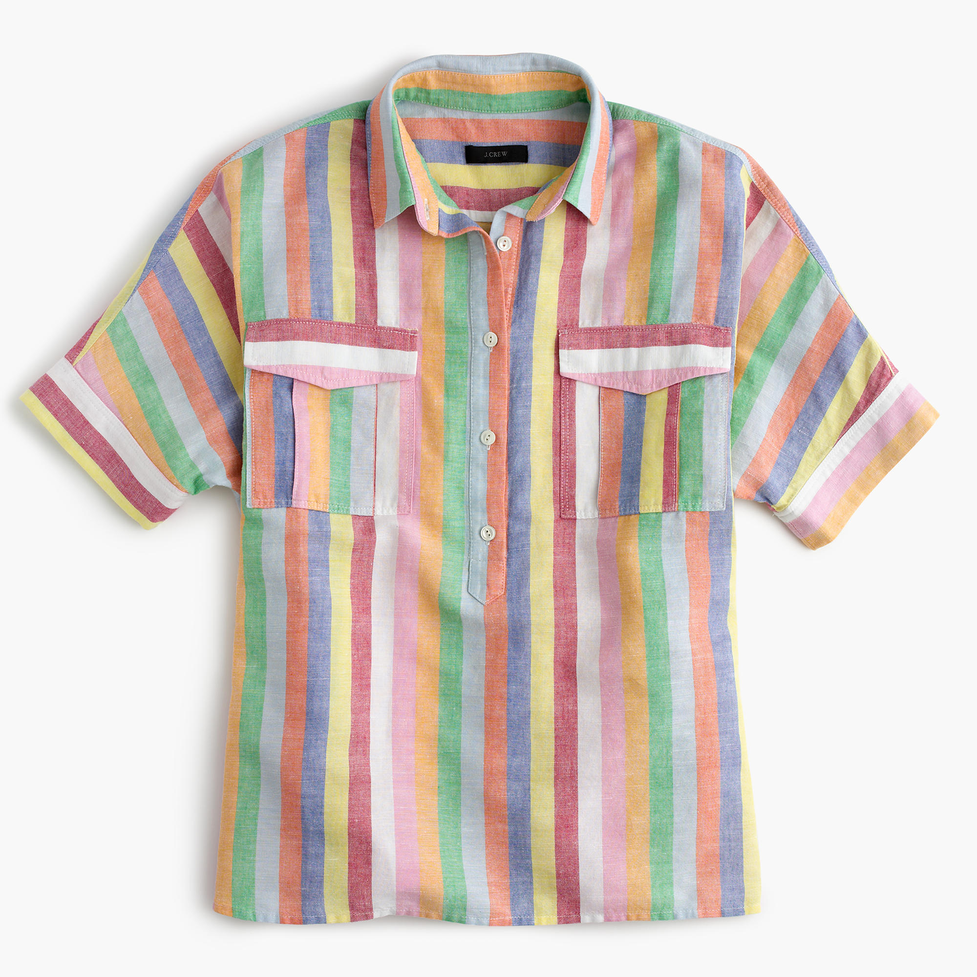 Short Sleeve Popover Shirt In Candy Stripe Women Button