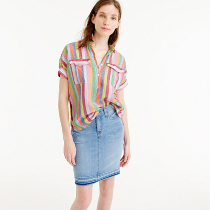Tall short-sleeve popover shirt in candy stripe
