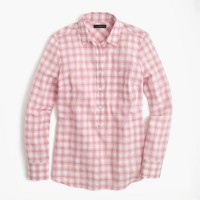 Popover shirt in melon plaid