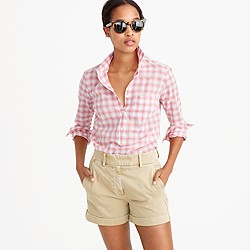 Tall popover shirt in melon plaid