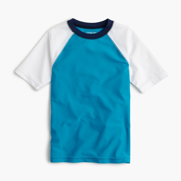 Boys' short-sleeve colorblock rash guard