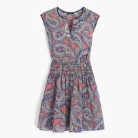 Silk smocked-waist dress in paisley