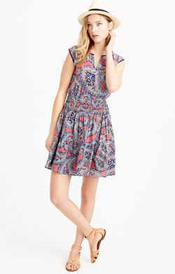 Silk smocked-waist dress in paisley