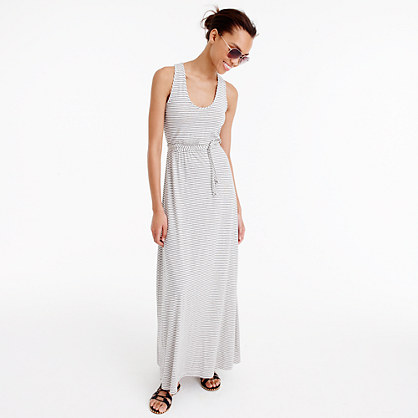 Triple-striped maxi dress with tie waist