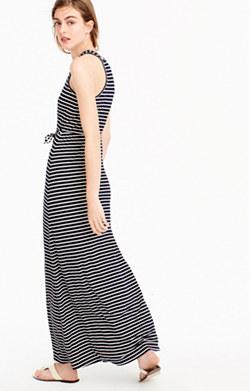 Striped maxi dress with tie waist