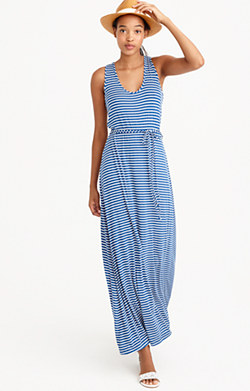 Striped maxi dress with tie waist