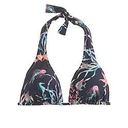 Adjustable halter bikini top in Ratti® Under the Sea print