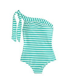 Long torso one-shoulder one-piece swimsuit in classic stripe