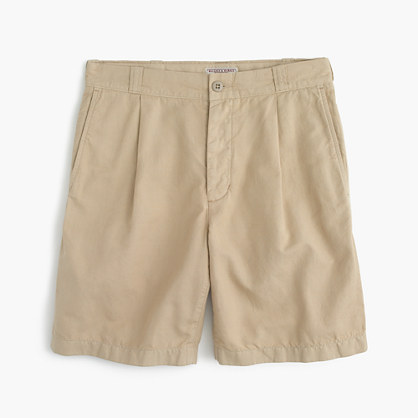 Wallace & Barnes pleated short in garment-dyed cotton-linen