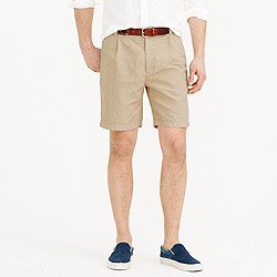 Pleated short in garment-dyed cotton-linen